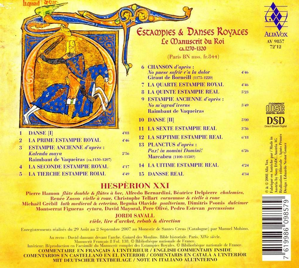 Hesp rion xxi jordi savall estampies danses royales - Le salon du manuscrit ...