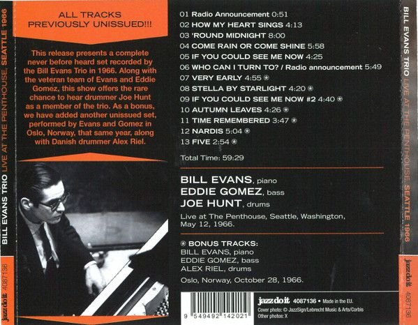 Bill Evans: Live at the Penthouse - Seatle 1966 - CD - Opus3a