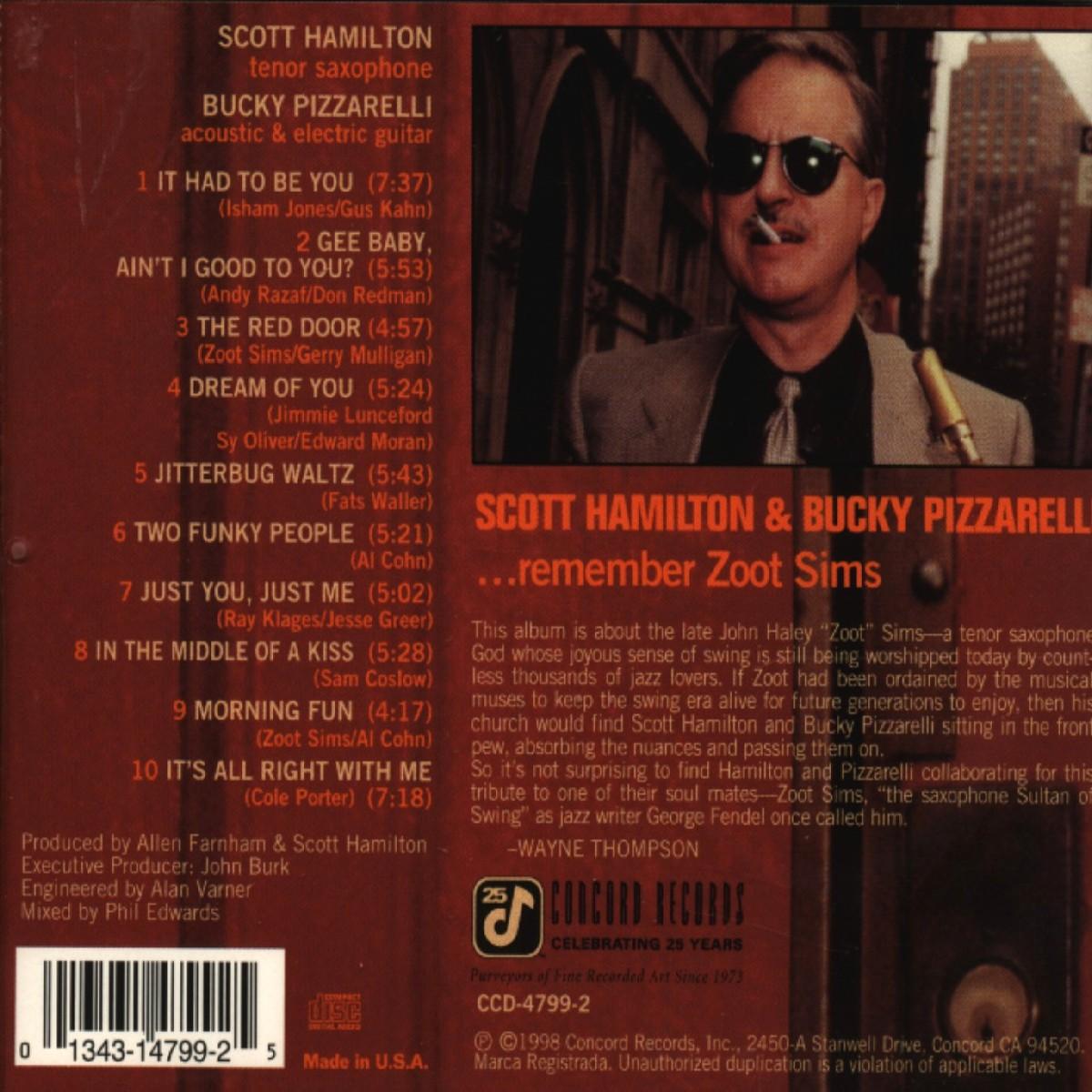 Scott Hamilton Bucky Pizzarelli The Red Door Member Zoot