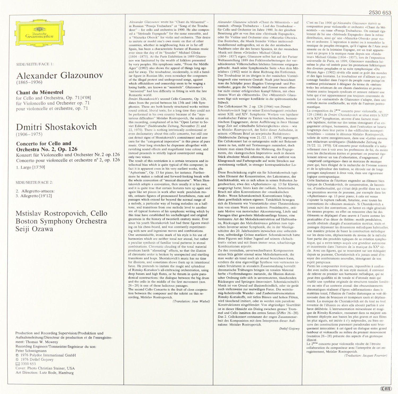 Mstislav Rostropovich, Boston Symphony Orchestra, Seiji
