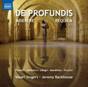 Jeremy Backhouse, Vasari Singers: De profundis, Miserere & Requiem - CD