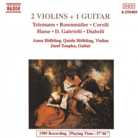 Anna Hölbling, Quido Hölbling, Jozef Zsapka: 2 Violins + 1 Guitar Vol.1 (Telemann, Rosenmüller, Corelli, Hasse, Gabrielli, Diabelli) - CD