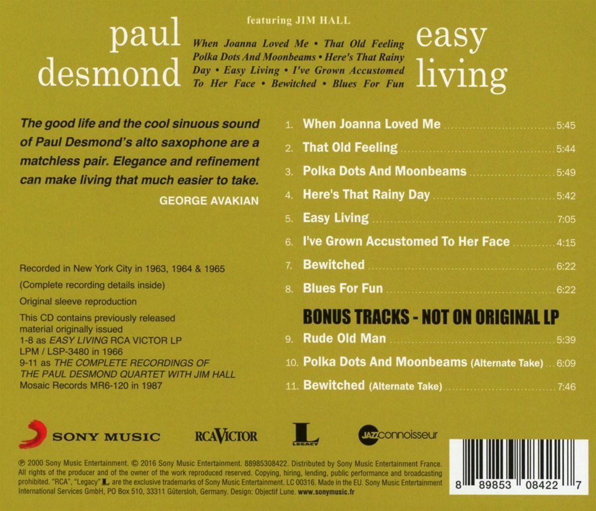 Paul desmond easy living cd opus3a for Easy living