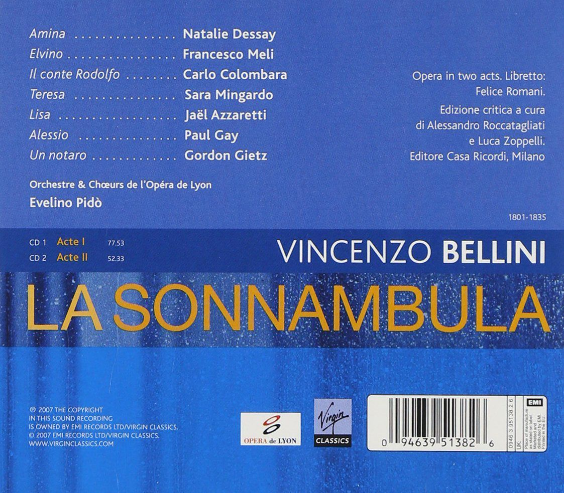 la sonnambula natalie dessay dvd Natalie dessay as amina and juan diego flórez as elvino deliver where an opera company rehearses la sonnambula—and where the dvd release by decca.