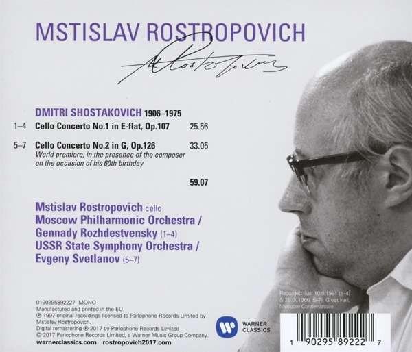 Mstislav Rostropovich: Shostakovich: Cello Concertos Nos 1 & 2 (The Russian  Years) - CD