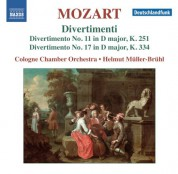Cologne Chamber Orchestra, Helmut Muller-Bruhl: Mozart: Divertimenti Nos. 11 & 17 - CD
