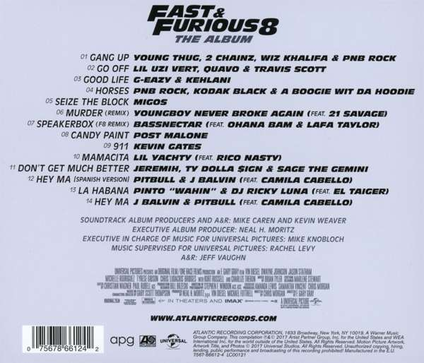 e itli sanat lar fast furious 8 soundtrack cd opus3a. Black Bedroom Furniture Sets. Home Design Ideas