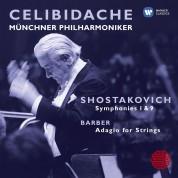 Sergiu Celibidache, Münchner Philharmoniker: Shostakovich: Symphonies 1 & 9, Barber: Adagio for Strings - CD